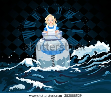Alice stands in a transparent jar on watch background  - stock vector