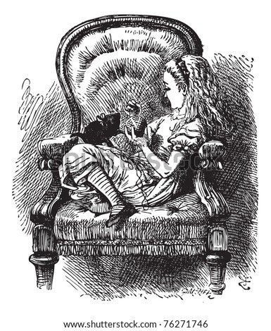Alice talks to the Kitten - Through the Looking Glass original book vintage engraving. Do you know, I was so angry, Kitty,? Alice went on as soon as they were comfortably settled again... - stock vector