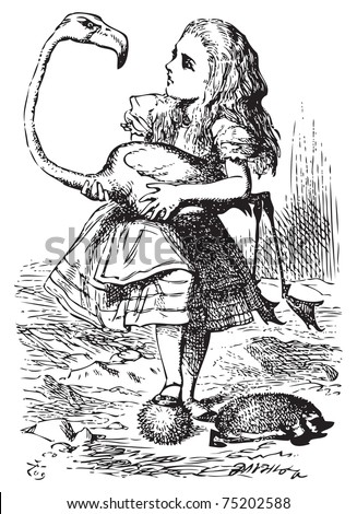 Alice trying to play croquet with flamingo and hedgehog - Alice's Adventures in Wonderland original vintage engraving. The chief difficulty Alice found at first was in managing her flamingo... - stock vector