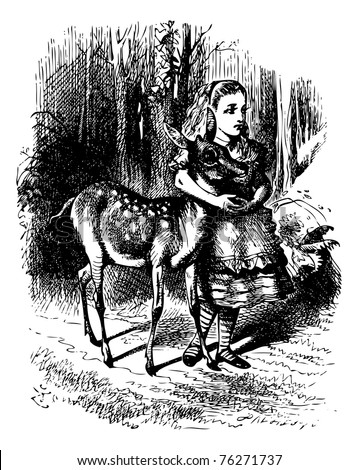 Alice with her arms clasped lovingly round the soft neck of the Fawn - Through the looking Glass and what Alice found there original book vintage engraving. - stock vector