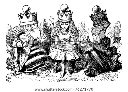 """Alice with the Red and White Queens - Original book engraving.   """"I didn't know I was to have a party at all,"""" said Alice; """"but if there is to be one, I think I ought to invite the guests."""" - stock vector"""