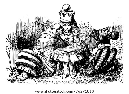 Alice with the Sleeping Queens - Through the Looking Glass and what Alice Found There original book engraving. - stock vector