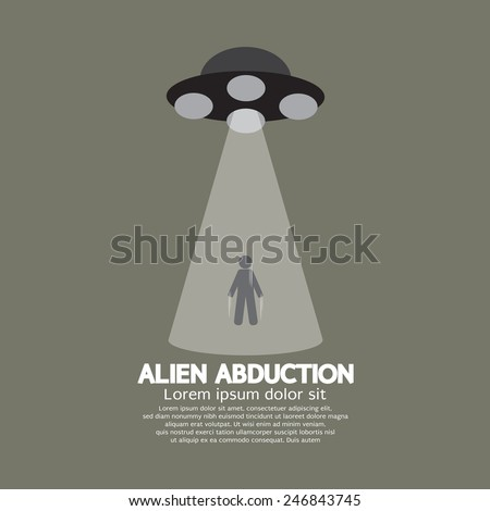 Alien Abduction With UFO Spaceship Vector Illustration - stock vector