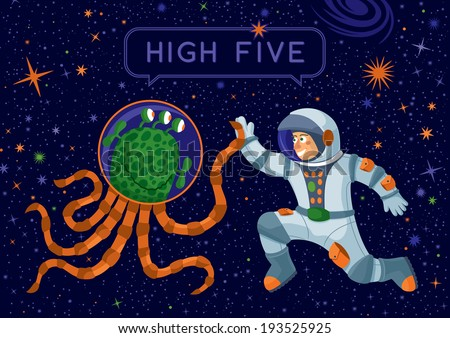 Alien And Cosmonaut Making High Five - stock vector