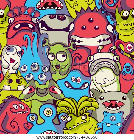 Alien and monsters - seamless pattern - stock vector
