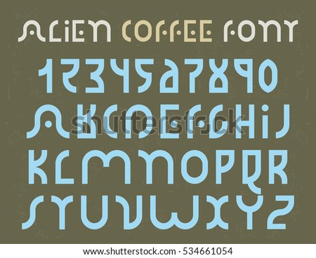 Alien Coffee Decorative Font For Logo Use With Grunge Texture In The Background