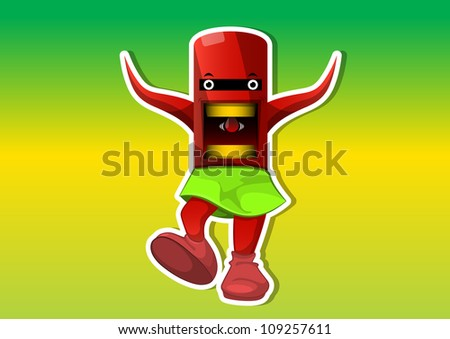 Alien Creature, Red, with Tentacles, Wearing a Green Skirt, vector illustration - stock vector