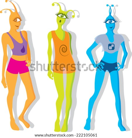 Alien Girls - stock vector