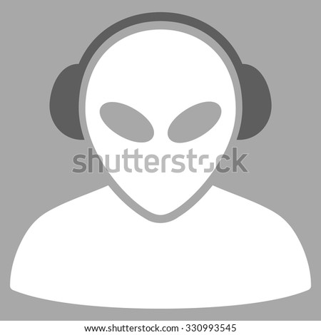 Alien Operator vector icon. Style is flat bicolor dark gray and white symbol, rounded angles, silver background.
