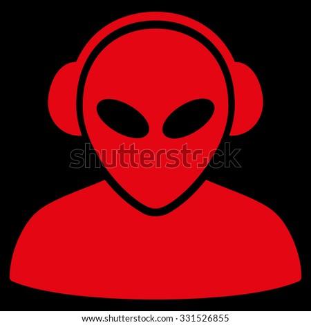 Alien Operator vector icon. Style is flat red symbol, rounded angles, black background.