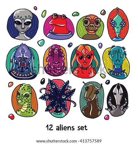 Alien portraits colorful set. Fictional creatures from another planet. Vector cartoon characters. Fantastic space dossier