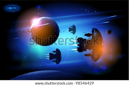 Alien Spacecrafts flying in outer space. Eps 10. - stock vector
