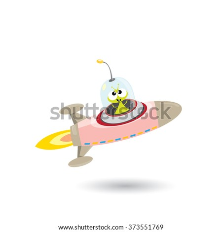 alien spaceship isolated on white . ufo green alien in space. vector flying saucer - stock vector