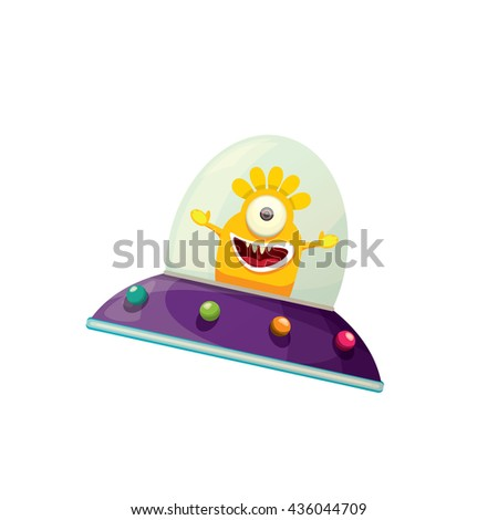 alien spaceship isolated on white . ufo. orange alien in space vector. flying saucer - stock vector