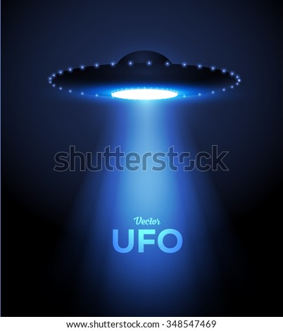 Alien Spaceship - UFO Background. Vector Illustration. - stock vector