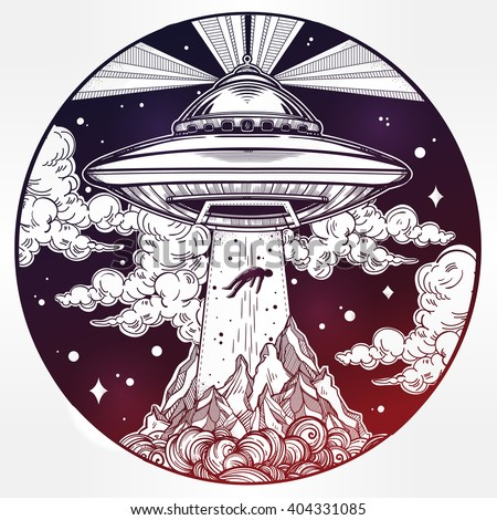 Alien Spaceship. UFO Background with flying saucer abducting a human. Conspiracy theory concept, tattoo art. Isolated vector illustration.  - stock vector