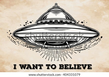 Alien Spaceship. UFO Background with flying saucer icon. Conspiracy theory concept, tattoo art. Isolated vector illustration.  - stock vector