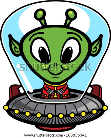 Alien UFO cartoon vector illustration - stock vector