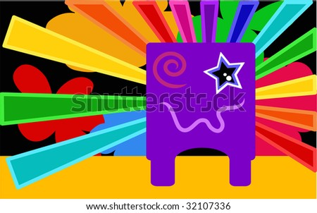 Alien with rainbow background. - stock vector