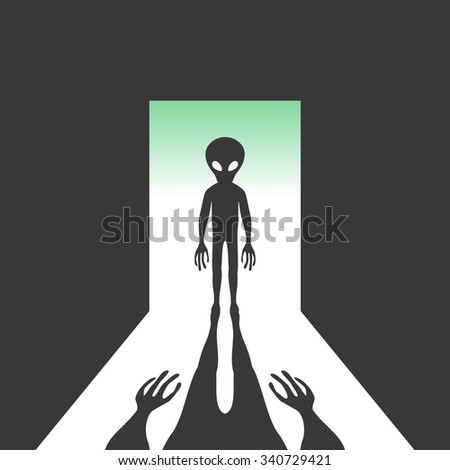 Alien with shadow in the open door - stock vector