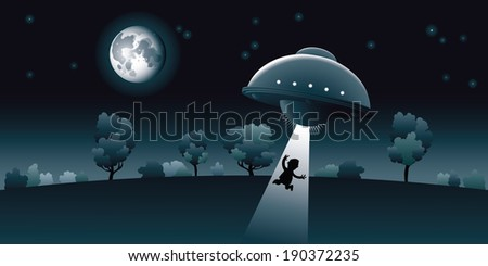 Aliens abduct a human at night, under the light of the moon.