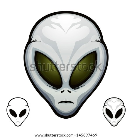 """Aliens Heads Extraterrestrial Visitor Grey """"Full compatible. Created with gradients."""" - stock vector"""
