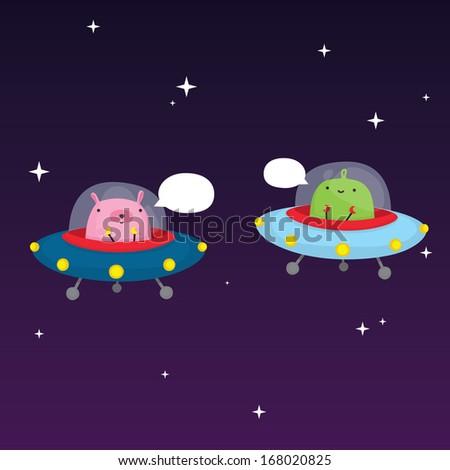 Aliens in space vector illustration - stock vector