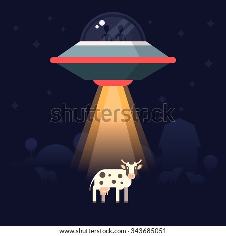 Aliens steal  the earth animals as examples for research. Star ship and aliens on the back. Vector illustration.  - stock vector