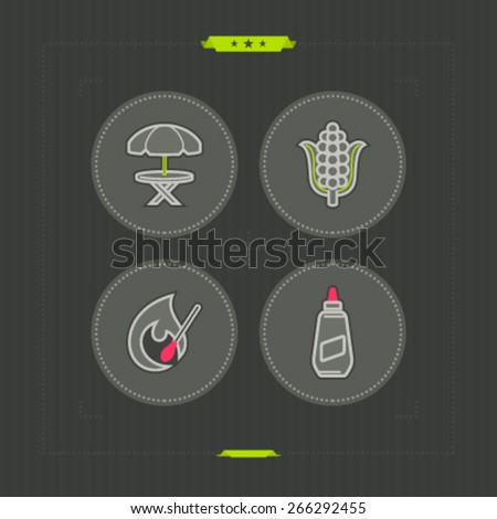 All about barbecue time - Umbrella and table, Ear of maize (corn), Igniting match, American Mustard.  - stock vector