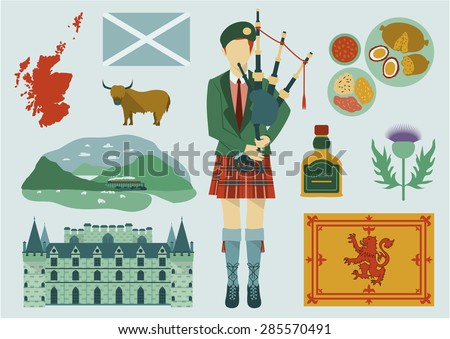 All about Scotland elements. National map,food,tourist attractions,castle,flower and etc. - stock vector