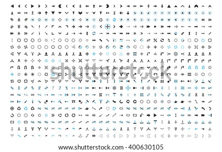 All Arrows Directions vector icon set. Style is bicolor blue and gray flat symbols isolated on a white background. - stock vector