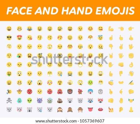 All Basic Face Hand Emojis Emoticons Stock Vector Royalty Free