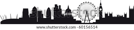 All buildings are on separate layers and named, including the millenium dome, canary wharf, the wheel, the city and westminster and big ben - stock vector