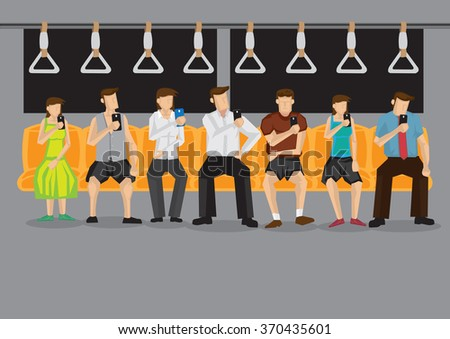 All commuters looking at their mobile phones inside public transport. Vector illustration on technology and modern lifestyle concept. - stock vector