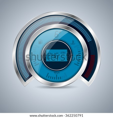 All digital shiny metallic speedometer rev counter and other instruments - stock vector
