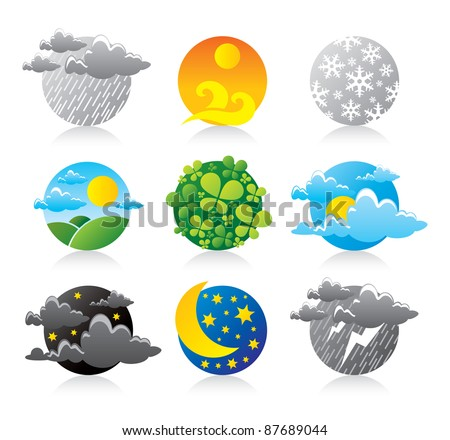All Earth planet weather forecast season sphere logo icons beautiful illustration template set logotype of nature power force element
