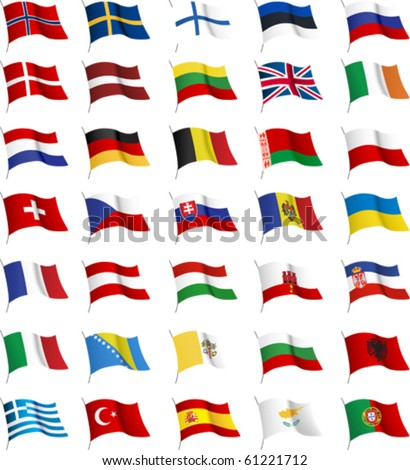 All European flags. All elements and textures are individual objects. Vector illustration scale to any size. - stock vector