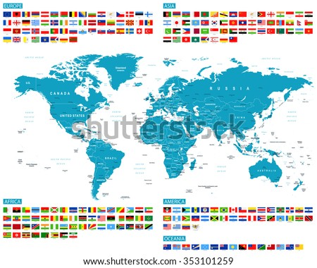 All Flags and World Map - Vector Collection - stock vector