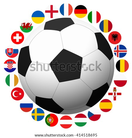 all flags of national teams of france soccer championship - stock vector