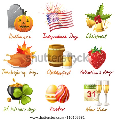 All holidays in 1 set - 9 highly detailed icons - stock vector