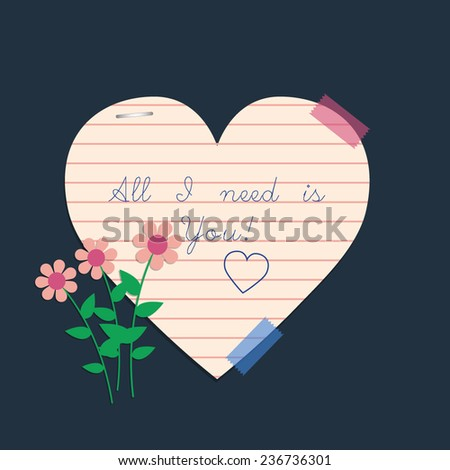 All i need is you, vector handwritten text. Valentines day card - stock vector