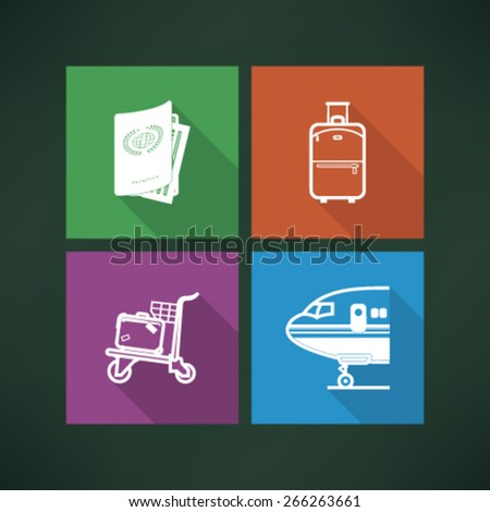 All icons in relation to summer vacation time - Passport, Suitcase (Luggage), Luggage cart, Airplane.  - stock vector