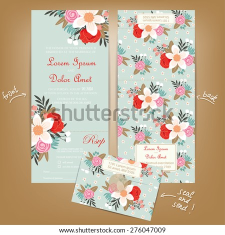 All in One Wedding Invitation with Vintage Flowers. Seal and Send Card. - stock vector
