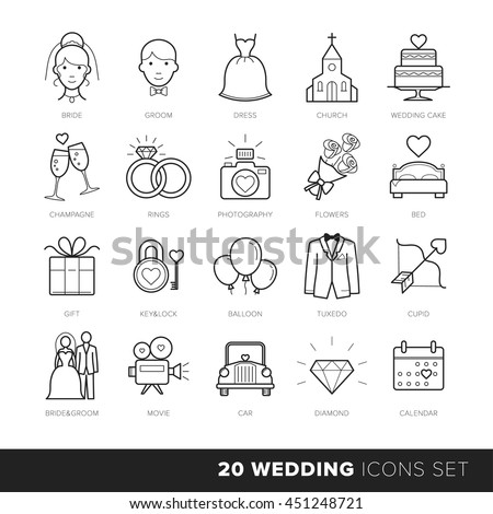 All Kinds of Wedding Marriage or Bridal Icons Set Vector // Black & White