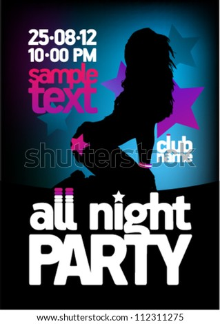 All Night Party design template with fashion girl and place for text. - stock vector