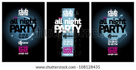 All Night Party design templates set with place for text. - stock vector