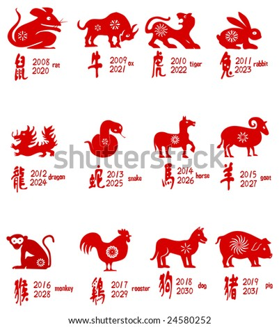 All of Chinese zodiacs - stock vector