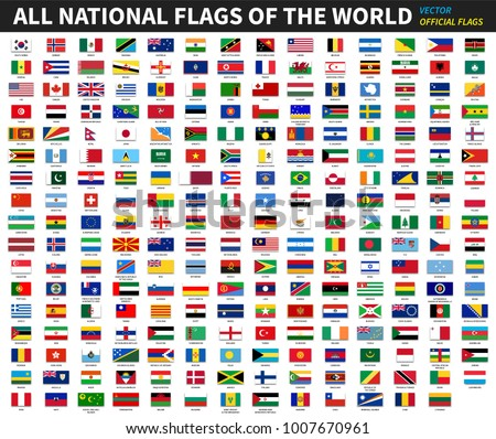 All official national flags of the world . Formal design . Vector .