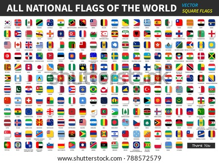 All official national flags of the world . Square design . Vector .