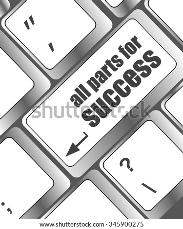 all parts for success button on computer keyboard key vector illustration